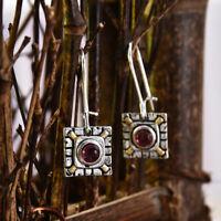 Vintage Square 925 Silver Red Ruby Ear Studs Women Dangle Drop Earrings Hook Hot