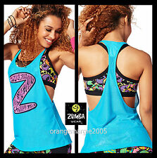 ZUMBA 2 Piece Set! Zmoji Mesh Bra Top + Meshed Up Tank Tee ~Awhh...Amazing S M L
