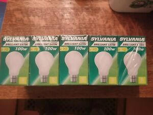 10 pack: Sylvania 100W B22 lamps bulbs Satin Brilliant Satin Classic Bayonet