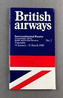 BRITISH AIRWAYS INTERCONTINENTAL TIMETABLE WINTER 1979/80 NO.2 BA