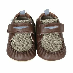 NIB ROBEEZ Mini Shoez Shoes Luke Taupe Brown Penny Loafer 6-9m 3