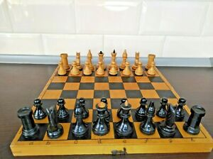 Vintage Soviet Chess Completely wooden Set Checkers Lot 2 in 1 USSR Wooden Box