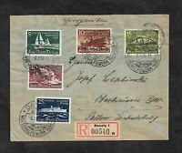 Danzig 1938, Michelnrn: 284 - 288 o, R-Brief, gestempelt o, Katalogwert € 103,00