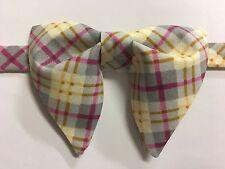 NEW Handmade Mens Bow-tie-Vintage-style-70s-Grey-Plaid-Bowtie-Pre-tied-Adjustabl