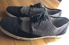 Vintage HUSH PUPPIES Carver Suede Wingtip Black Gray Sneakers mens 11