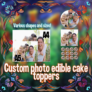 YOUR  OWN CUSTOM edible photo/personalised image Cake topper  Icing/Wafer A4 A5