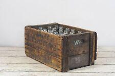 Antique Sanitary Bottling Works Crate 24 Aqua Horse Head Glass Bottles Soda Pop
