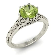 Certified 0.75 Ctw Natural Peridot Vintage Style Solitaire Ring Sterling Silver