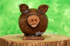 Unique Hand Made Carved Coconut Shell Wood Pig Coin Piggy Money Bank Gift Decor