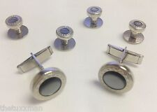NEW Mens Silver/Gray Embossed Cuff Links & Shirt Studs Set Western Bullet Tuxedo