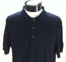 5e0f7b139587 TASSO ELBA Sweater Polo Shirt Navy Blue Short Sleeve SUPIMA Cotton Mens  55