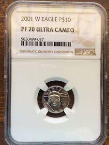 2001-W $10 PLATINUM STATUE of LIBERTY 1/10 Oz. EAGLE NGC PF70 PROOF PR70
