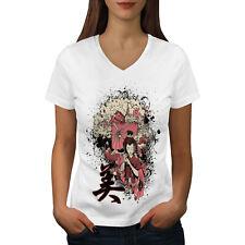 Wellcoda Girl Sakura Art Womens V-Neck T-shirt, Costume Graphic Design Tee