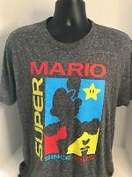 Super Mario Men's Gray Polyester & Cotton 3/4 Sleeve Plain T-Shirts Size US L
