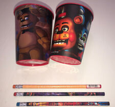New FIVE NIGHTS at FREDDY'S KEEPSAKE CUPS & Pencils 5 DIF pc Lot Party Supplies