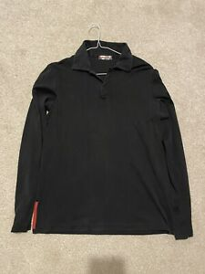 Prada Black Mens Collared Rugby Shirt Top Size Small Casual Smart