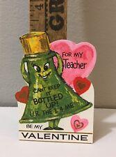"""Vtg Valentine Card Green Anthropomorphic Bottle Cork Stopper """"Bottled Up"""" Unused"""