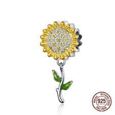 SUNFLOWER DAISY FLOWER CHARM 💗STERLING SILVER 925 💗 DANGLE EUROPEAN BRAND