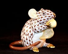 HEREND GUILD, MEADOW MOUSE PORCELAIN FIGURINE, CHOCOLATE FISHNET, FLAWLESS