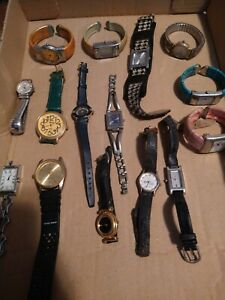 Lot 15 Watches for Parts/Repair Guess Timex Geneva LA Express & More