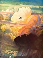 ART PRINT POSTER PAINTING VINTAGE SKY CLOUDS AEROPLANE FLIGHT 1938 NOFL0916