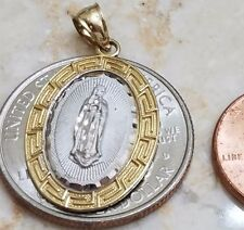10k solid real GOLD Pendant Mary Guadalupe yellow white oval Charm Greek Aztec