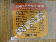 """1976/1977 Rugby Union: Buckley Beer mat - """"lo rendono un B-LINE per un' BUCKLEY"""", sulla"""