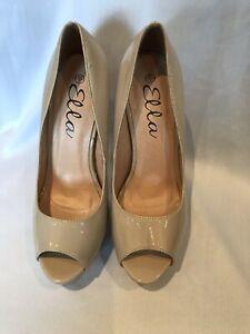 Ella Women Nude Patent slip on Peep Toe Pumps Court Shoes Size Uk7 Euro40