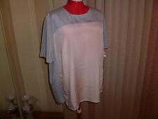 NWT$190 Marina Rinaldi BOSCO short sleeve top/tunic in grey/cream size 25/16W.
