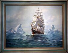 Magnificent Humbero da Silva Fernandes's 'Clipper Ship' Oil on Canvas Painting