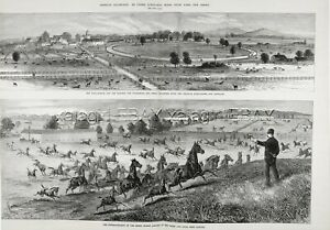 Horse Racing Thoroughbred Farm Jobstown New Jersey, Huge 1870s Antique Print