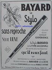 PUBLICITE BAYARD LE STYLO SANS REPROCHE SERIE LUXE CHEVALIER DE 1928 FRENCH AD