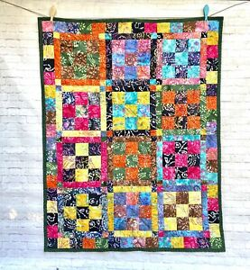 Handmade Batik Quilt Throw Lap Blanket Cotton Flannel Back Colorful 9 Patch