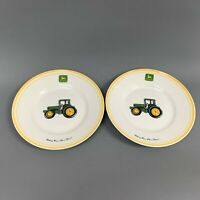 Gibson John Deere Tractor Salad Plates Yellow Trim Lot of 2