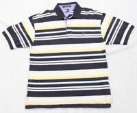 Tommy Hilfiger Polo Shirt XL Men's Man's Top 2-Button Short Sleeve Blue White