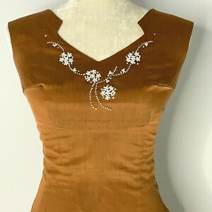 Vintage 60s Hand Beaded Midi Pencil Wiggle Dress S Brown Linen Rhinestones