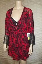 NEW Black & Red Brocade Print Short Bra seduction Wear Gown & Robe Set (Sz L)