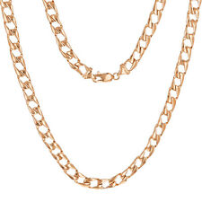 "10k Rose Gold Solid Flat Cuban Link Chain Necklace 24"" 6.3mm 33 grams"
