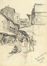 FLORENZ / FIRENZE - PONTE VECCHIO - Oskar Popp - Bleistift 1906