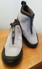 LL BEAN Women's Slip-On Front-Zip Ankle Boots Gray Suede Black Trim 5.5M EUC