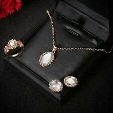 Set Jewelry Chain Gif N9N6 Women Moonstone Ring+Earrings+Necklace Alloy material