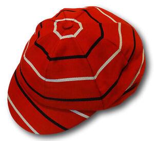 Red Black & White Venetian Stripe Wool Worsted School Uniform / Rowing Cap