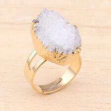 1x Natural Gold Rock Crystal Quartz Druzy Crystals Adjustable Reiki Finger Ring