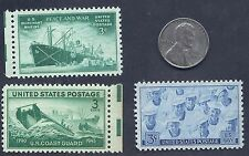 US 1943 Lincoln Steel Wheat penny Coin & Coast Guard Navy Stamp Lot MNH WW2 #x