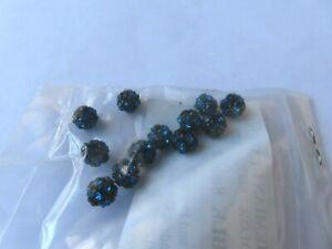 12 preciosa rhinestone Beadballs,8mm Capri Blue ,black matte finish