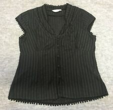 Womens PORTMANS Black Sheer Cap Short Sleeve Corporate Size 14