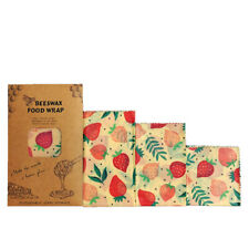 Strawberry Partten Beeswax Food Wrap Organic Natural Zero Waste Reusable Wrap