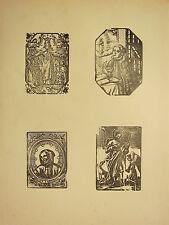 Antigua xilografía impresión ~ imagen gótica religiosos Santos BRVNONIS