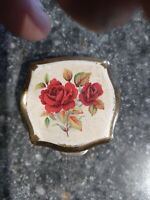 VTG Stratton Made In England Floral Trinket Pill Box White Flowers Leaves...