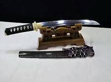 T10 Steel Clay Tempered Hand Forged Japanese Samurai Sword Wakizashi Full Tang